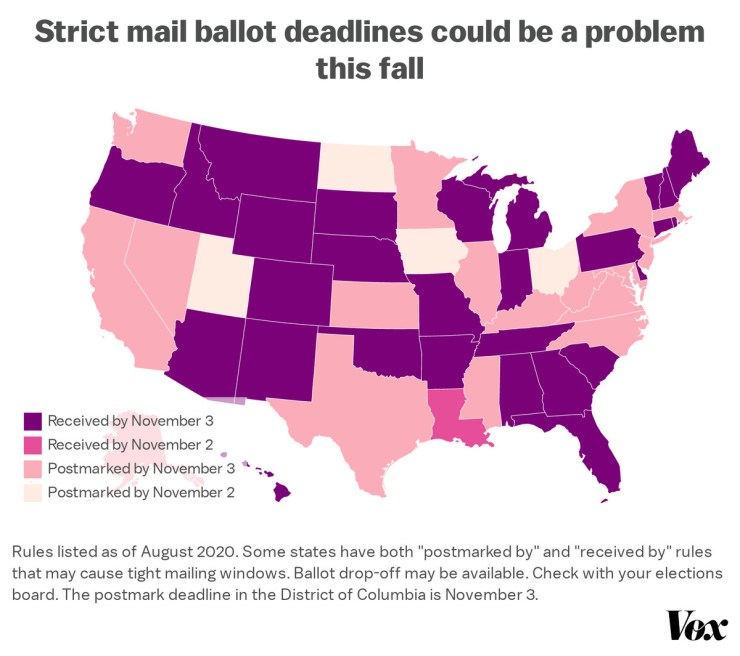 """Map: """"Strict mail ballot deadlines could be a problem this fall"""""""