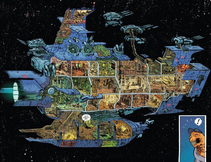 A detailed cross-section of Beta Ray Bill's ship, Skuttlebutt, revealing many different rooms including an armory, galley, bedroom, arcade room, and rooms where the artist and Marvel Editorial are working on the comic, in Beta Ray Bill #2, Marvel Comics (2021).
