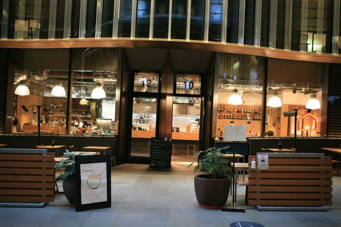 Koya, inside the city's Bloomberg Arcade with a new and expanded outdoor seating area - & nbsp;  one of the best Japanese restaurants (udon noodles)