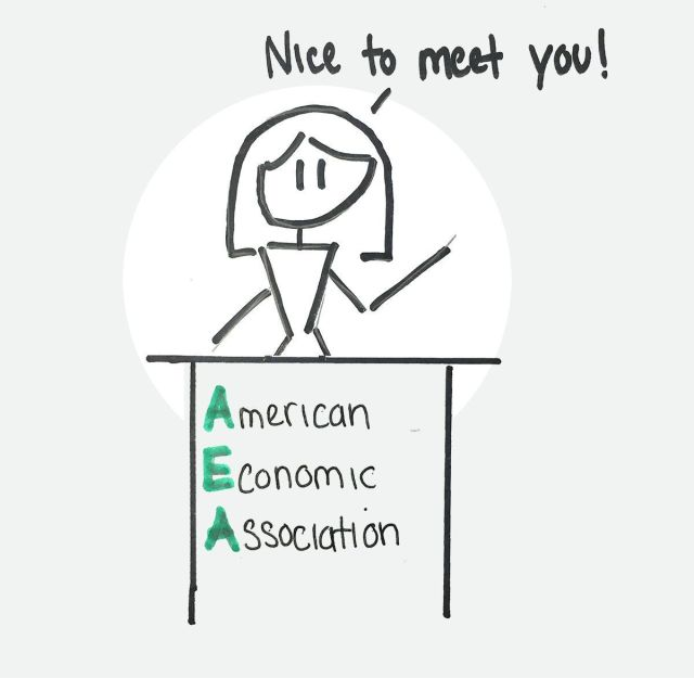 Woman at lectern of the American Economic Association