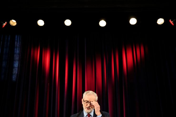 Labour Leader Jeremy Corbyn gives a speech at a rally in Hastings, England, on January 17, 2019.