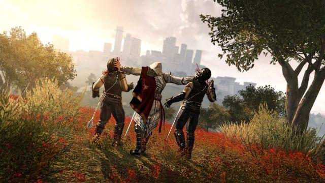 Assassin's Creed 2 - Ezio stabs two enemies