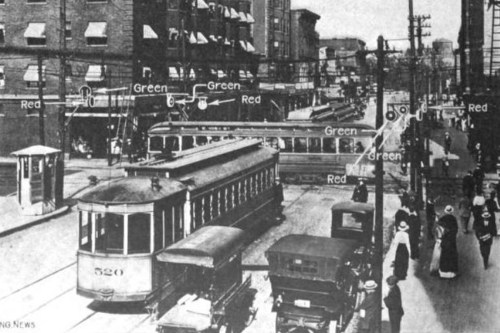small resolution of cleveland s electric traffic signal system installed on august 5 1914