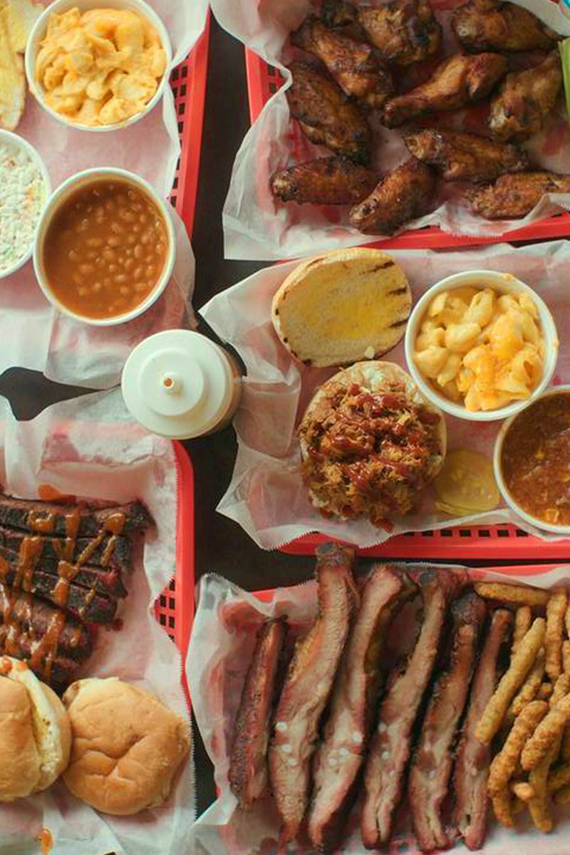 A platter of barbecue and sides.