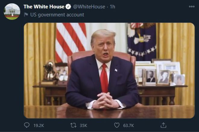 trump_twitter_white_house.0 Twitter says a new video from Trump doesn't break the rules | The Verge