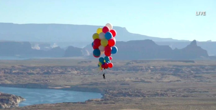 David Blaine strapped to balloons for his Ascension special