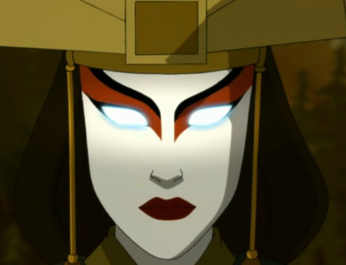The face of Avatar Kyoshi as she enters the Avatar State, in Avatar: The Last Airbender.