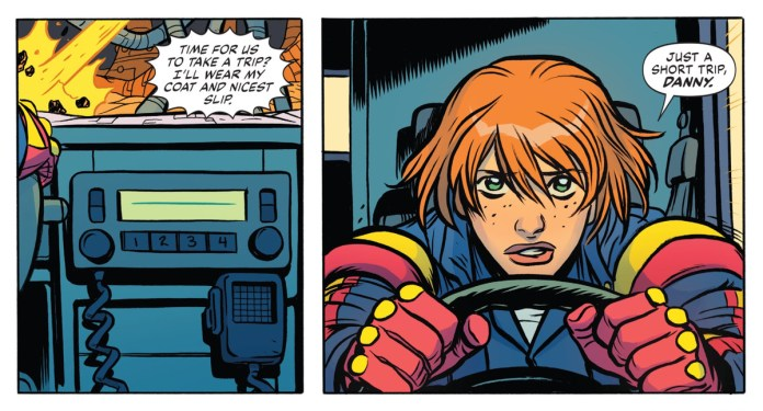 """""""Time for us to take a trip? I'll wear my coat an nicest slip,"""" says the radio in Danny the Ambulance. """"Just a short trip, Danny,"""" responds a worried Casey Brinke, in Doom Patrol: Weight of the Worlds #7, DC Comics (2020)."""