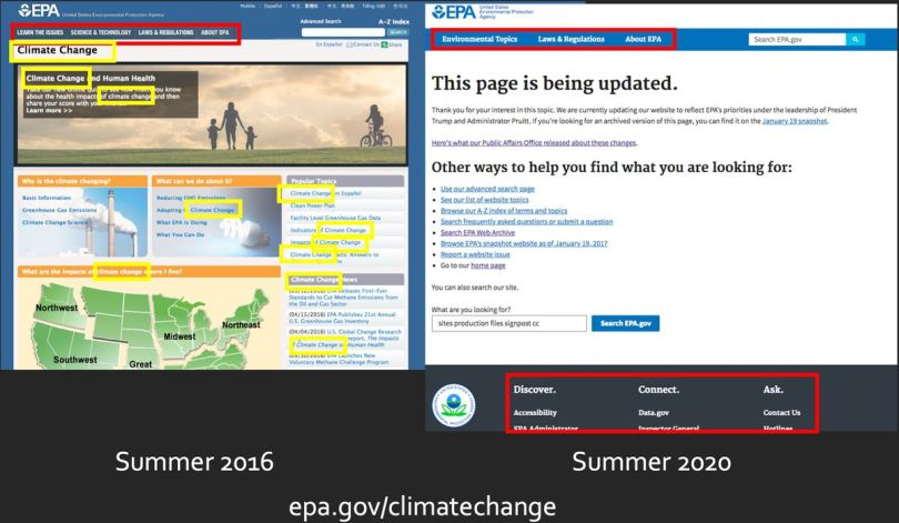 Side by side screenshots of the EPA's website about climate change showing the 2016 content removed by 2020.