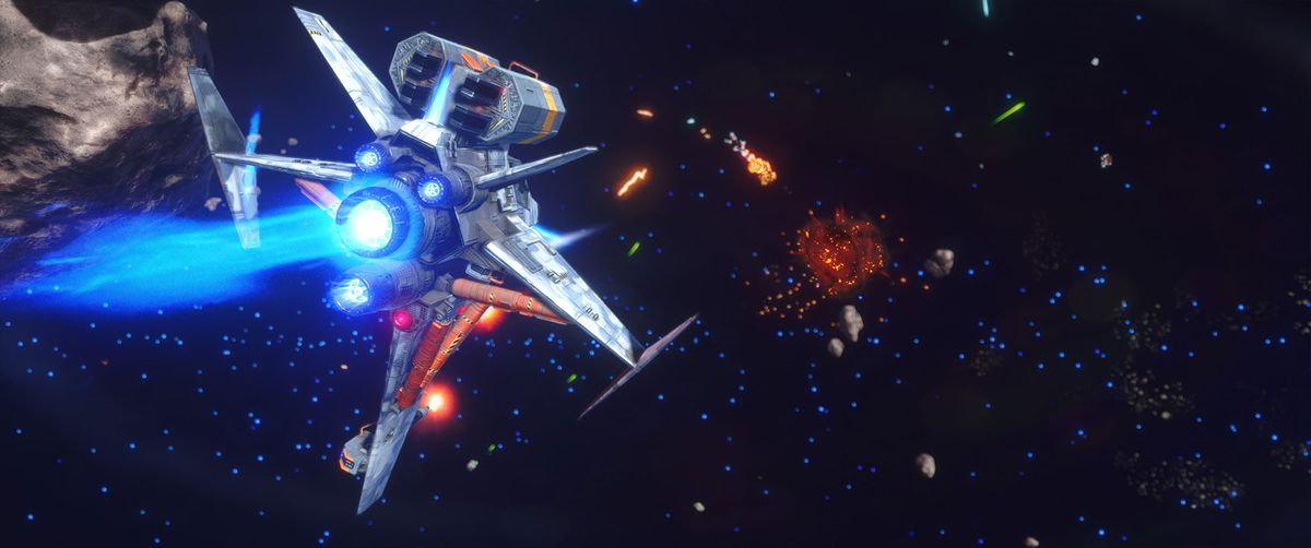 The player lines up a shot in a high-level ship, five wings each with multiple attitude thrusters. The target ship burns in the distance. The battle takes place in an asteroid field.