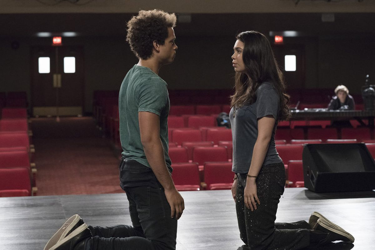 hight resolution of robbie damon j gillespie and lilette auli i cravalho tackle spring awakening and their feelings in rise virginia sherwood nbc