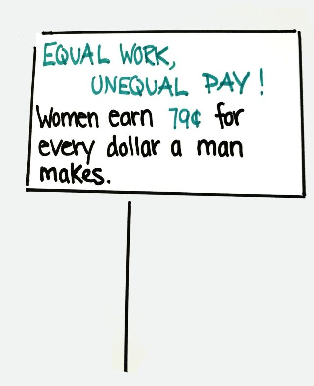 """Sign that says """"EQUAL WORK, UNEQUAL PAY! Women earn 79 cents for every dollar a man makes."""""""