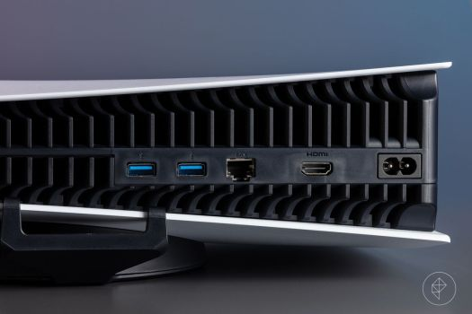 Photo highlighting the various ports on the PS5 video game console, including two USB ports, an ethernet port, an HDMI port, and the power input