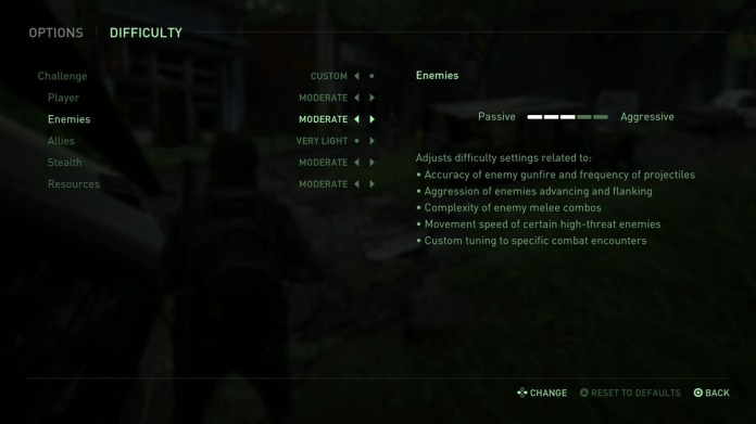 A look at the difficulty options of The Last of Us Part 2