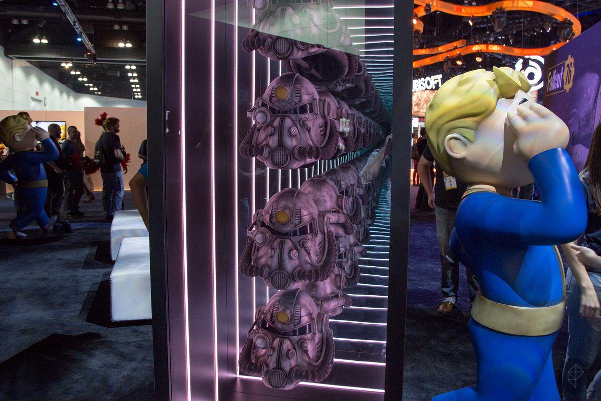 Fallout 76 Power Armor Helmet At Bethesdas E3 Booth Looks Mighty Nice Polygon