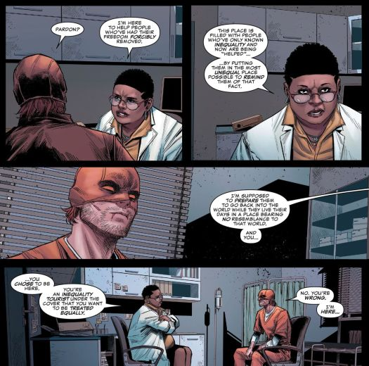 """A prison therapist dresses Daredevil down for pleading guilty and choosing to remain in jail. """"I'm here to help people who've had their freedom forcibly removed [...] you're an inequality toursit under the cover that you want to be treated equally,"""" in Daredevil #28, Marvel Comics (2021)."""