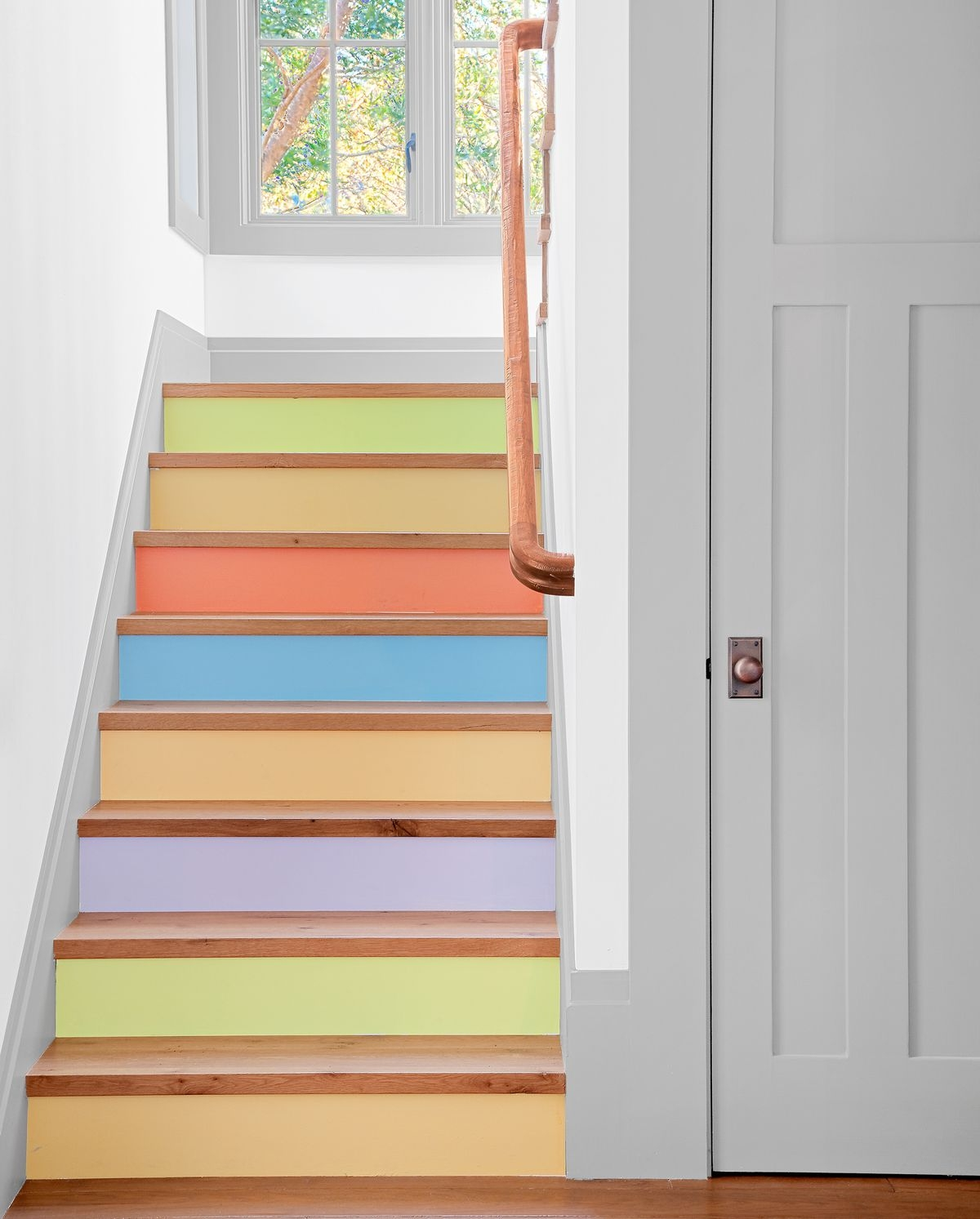 Paint A Candy Colored Staircase This Old House | Wood And Painted Stairs | Diy | Before And After | Striped | Refinish | Oak