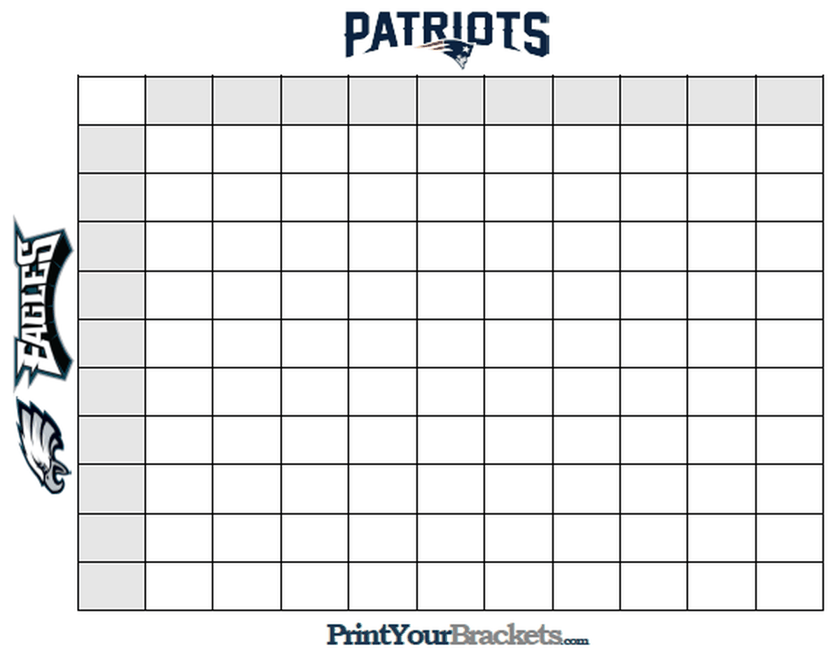 Super Bowl Squares Template How To Play Online And More