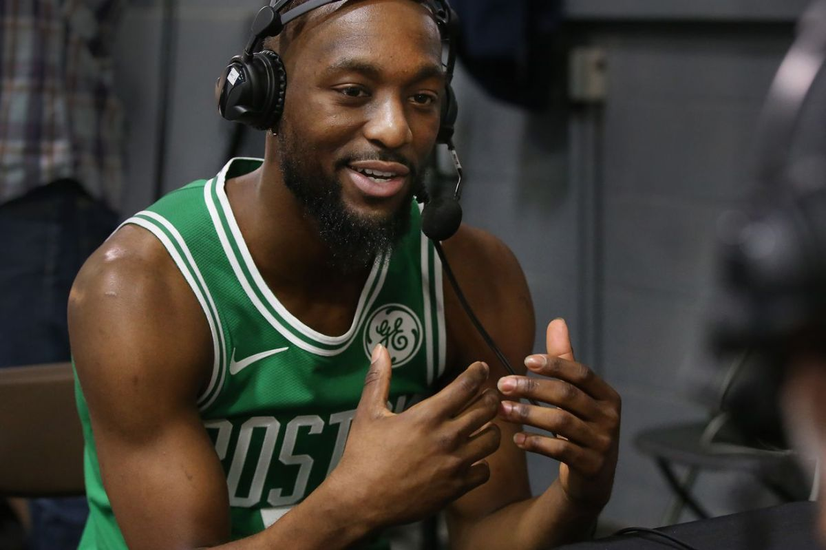 CANTON MA. - SEPTEMBER 30: Kemba Walker does a radio interview during the Boston Celtics Media Day on September 30, 2019 in Canton, MA. (Staff Photo By Nancy Lane/MediaNews Group/Boston Herald)
