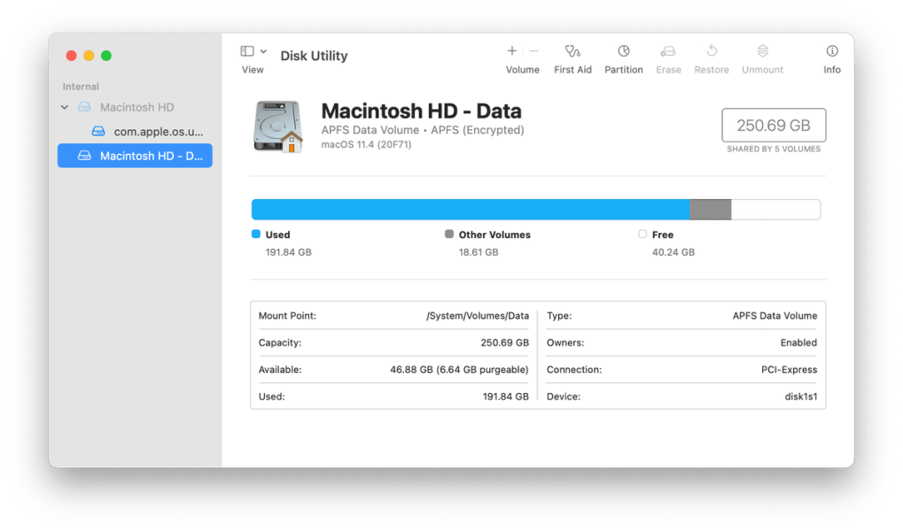 If your machine is using APFS, click the plus sign at top to create a new partition.