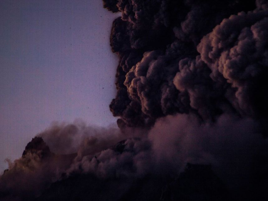 A volcanic eruption in Indonesia. Supervolcanoes are among the natural threats that could kill humans.