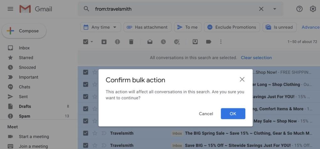 Bạn sẽ có cơ hội xác nhận rằng bạn muốn dọn rác tất cả các email có trong tìm kiếm của mình.