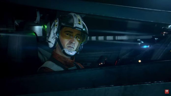 What appears to be Wedge Antilles, inside the cockpit of an X-Wing Fighter, in Star Wars: Squadrons.