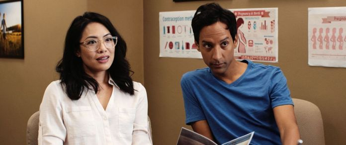 Danny Pudi and Emily Chang in Babysplitters