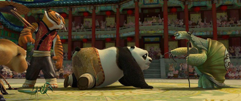 Kung Fu Panda kneels at the turtle master