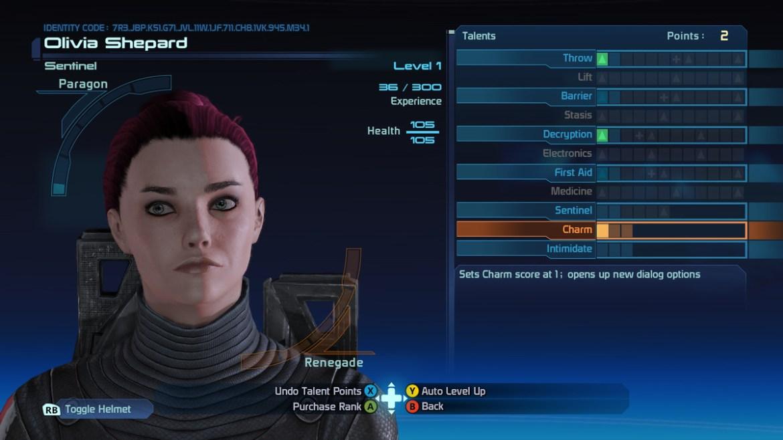 The status menu in Mass Effect