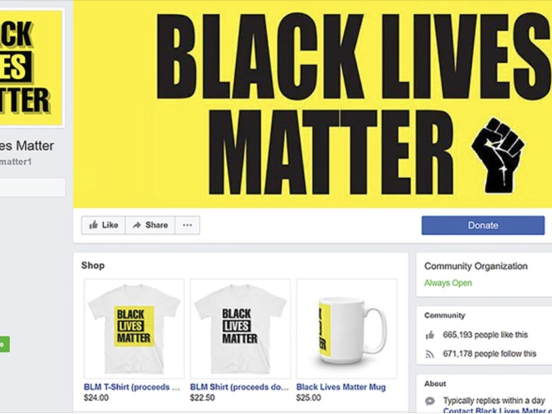 A screenshot of the fake Black Lives Matter Facebook page. The page had 700,000 followers and raised $100,000.