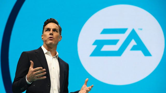 EA CEO Andrew Wilson on stage at E3 in 2017.