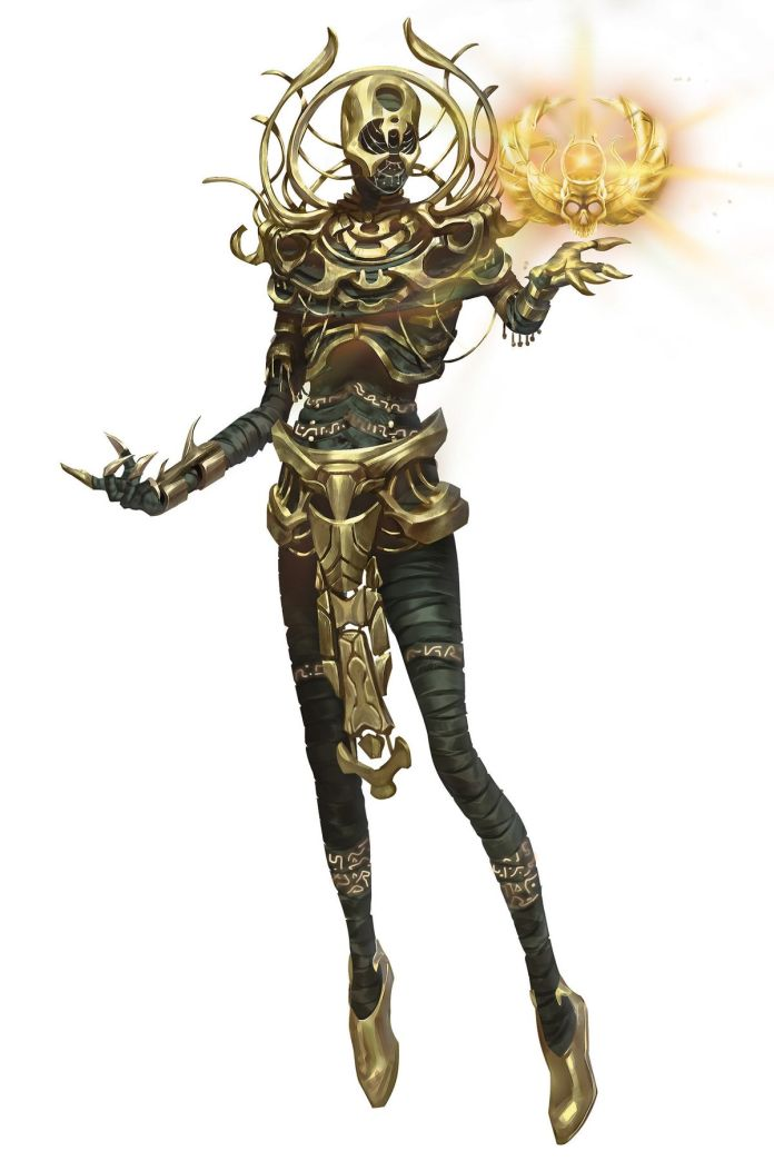 The darklord Anhktepot floats in the frame, with golden armore around his torso. A skull with wings glows, floating in his left hand.