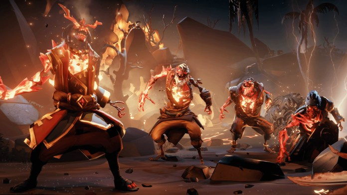 Sea of Thieves - the Ashen Lords, fire imbued skeletons, pose for a dramatic group shot
