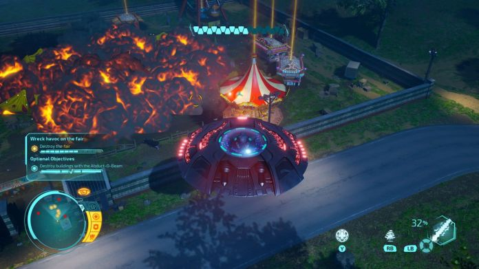 a UFO attacks a circus in the Destroy All Humans! remaster
