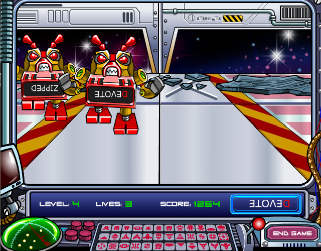 Red robots with upside down text on them walk towards the screen