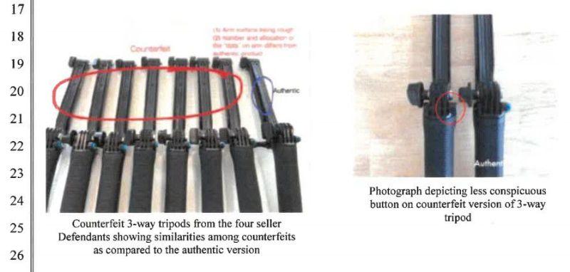 L'immagine di confronto del treppiede mostra un pulsante più piccolo sul falso e diversi modelli di punti.
