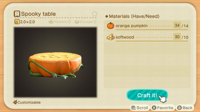 An Animal Crossing recipe for a Spooky Table
