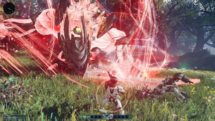 A character fights a giant enemy in a field