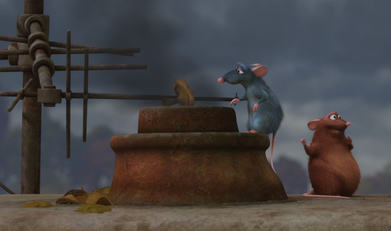 A still from the movie Ratatouille in which a grey rat cooks a mushroom over a chimney with a brown rat friend.
