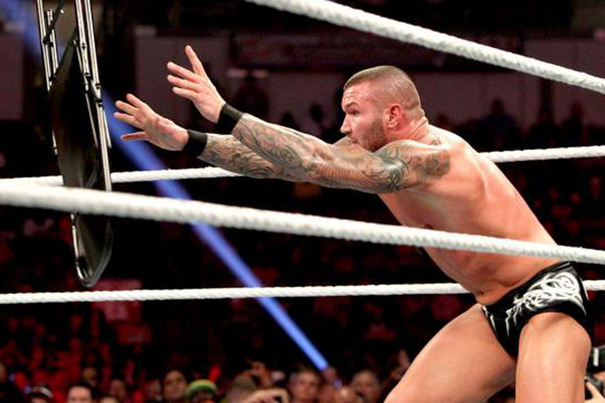 what are wwe chairs made of white wooden dining fines daniel bryan and randy orton for chair shot to