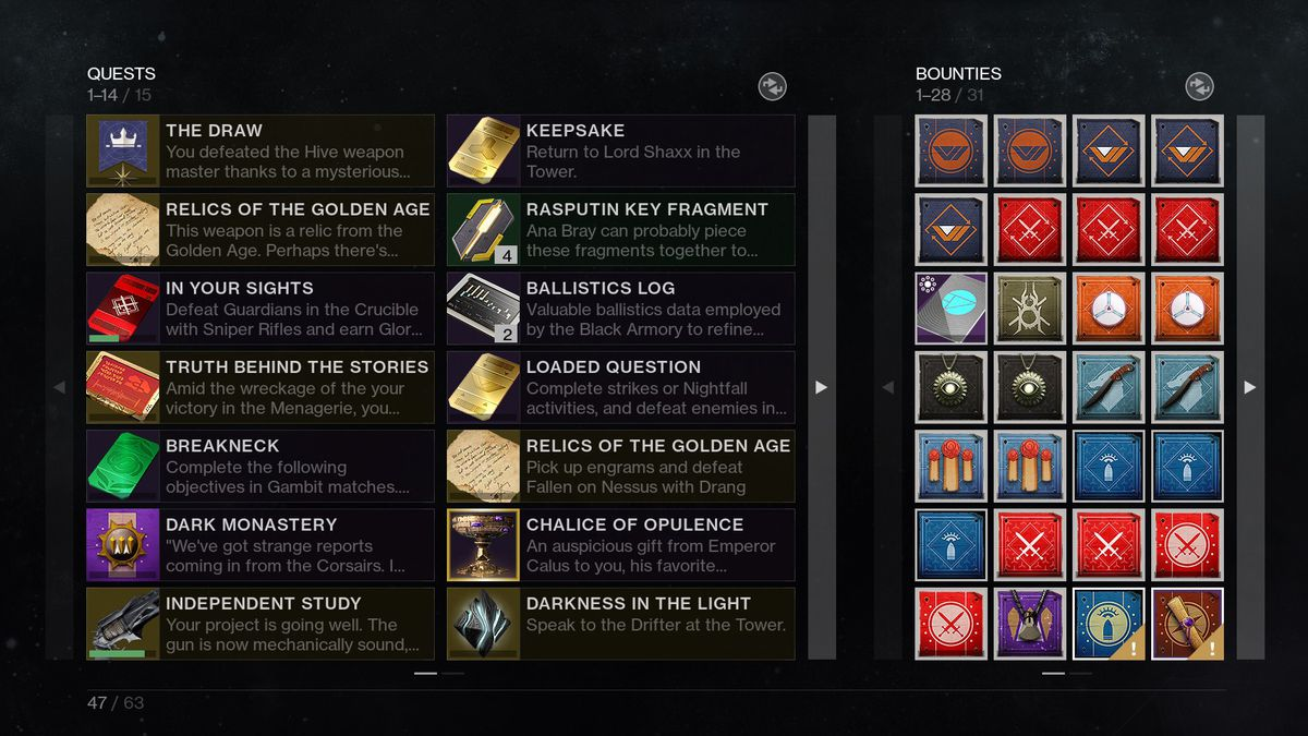 Image of Shadowkeep's Pursuits tab