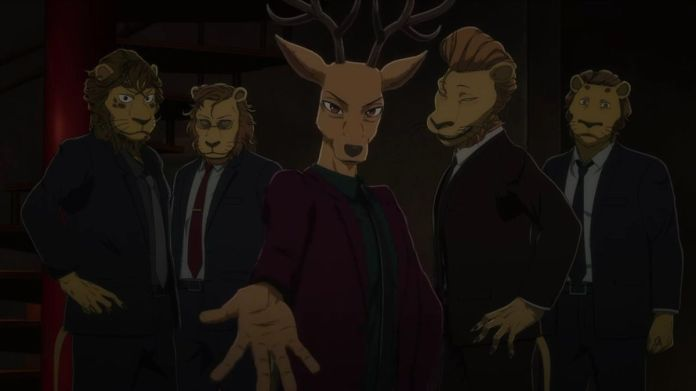 Louis the deer in a mauve suit flanked by Shishigumi made men with his hand outstretched in Beastars Season 2
