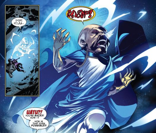 Uatu the Watcher springs from the head of Nick Fury on the blue side of the Moon in Empyre: Fallout Fantastic Four, Marvel Comics (2020).