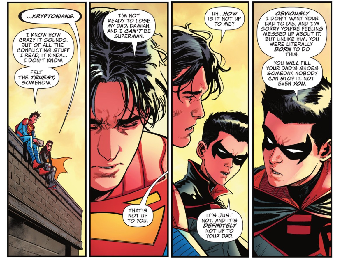 Damian Wayne/Robin tells Jon Kent/Superboy that he doesn't get to choose to be Superman or not. Eventually he will fill his father's shoes, in Action Comics #1030, DC Comics (2021).