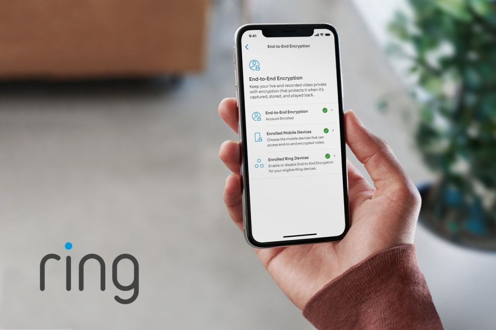 Ring end-to-end encryption menu in app
