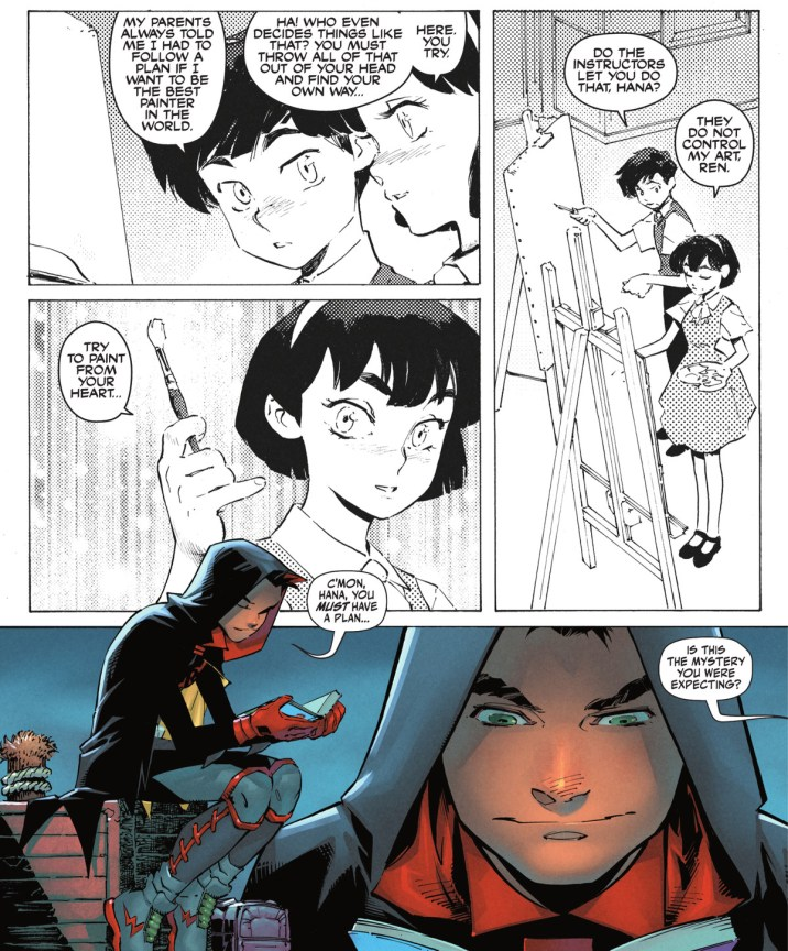 """Try to paint from your heart,"" a young girl tells her friend in a manga Damian Wayne is reading. ""C'mon Hana, you must have a plan,"" he mutters to the book. The manga panels are presented in a Western reading order, in Robin #1, DC Comics (2021)."