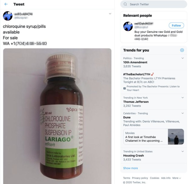 "A screenshot of a tweet showing an image of a bottle and the text ""chloroquine syrup/pills."""
