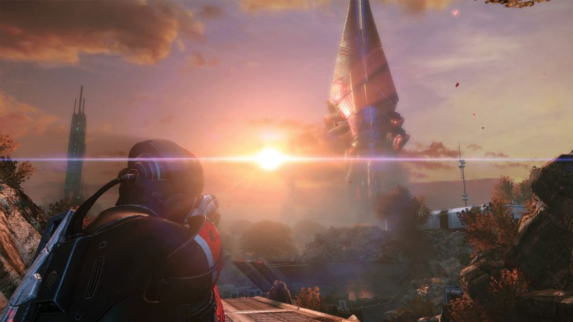 Mass Effect - Shepard looks at a giant alien lifeform on the planet of Eden Prime