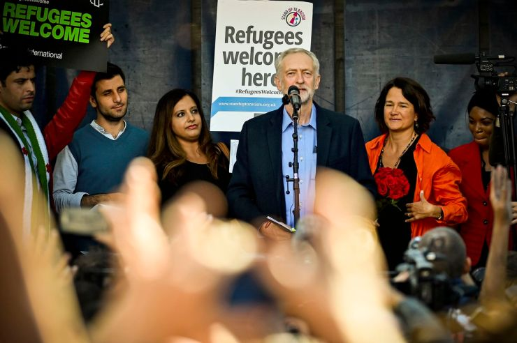 After being named the new leader of the Labour Party on September 12, 2015, Jeremy Corbyn, addressed a demonstration in London, England, calling to accept more refugees.